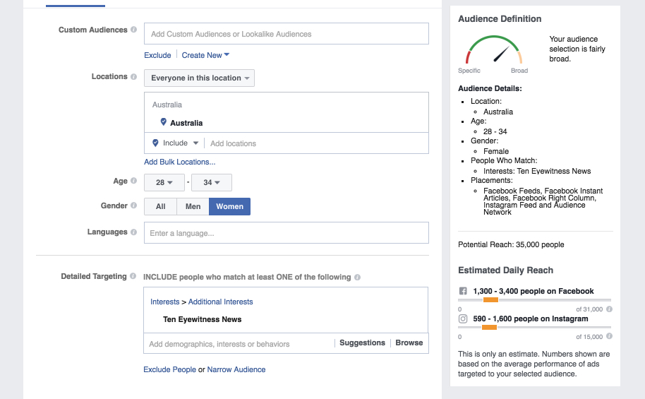Facebook ad sets target pages